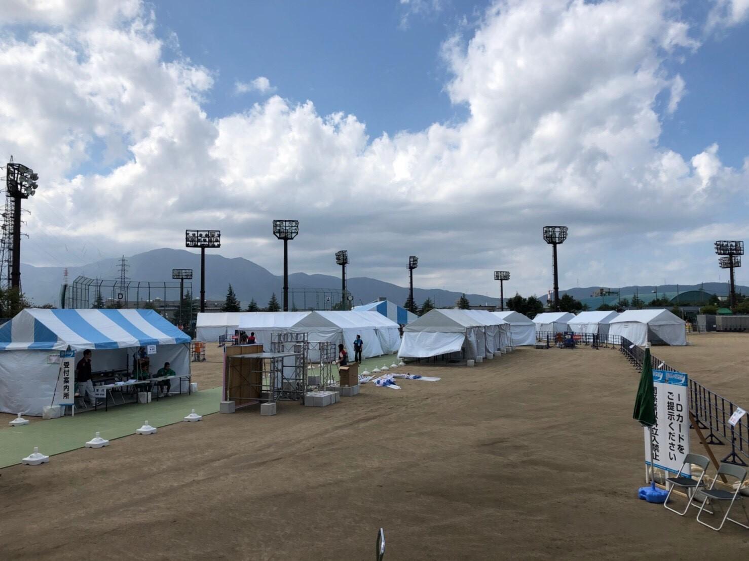 国体(福井県敦賀市・ソフトボール会場テント設営)